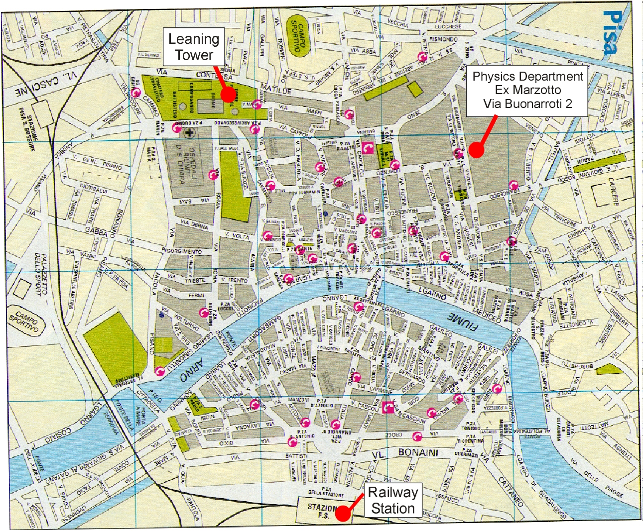 Travel Info – Pisa Tourist Map